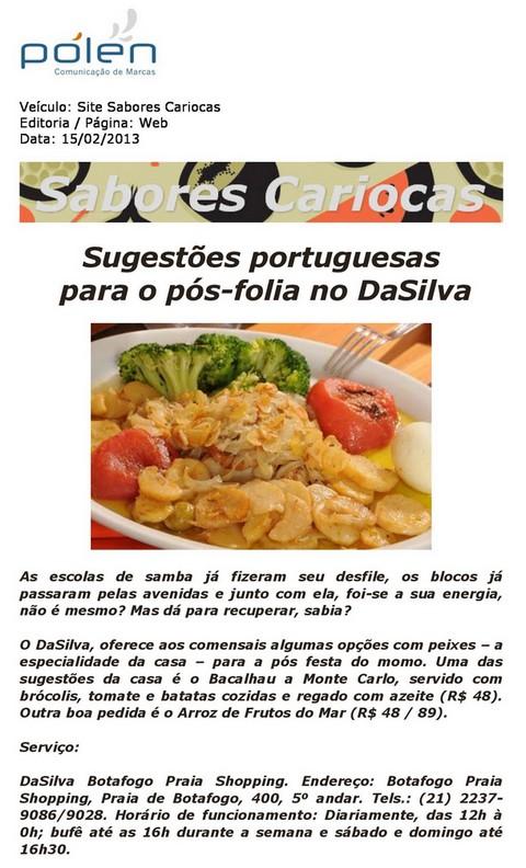 Sabores Cariocas: Sugestões portuguesas para o pós-folia no Da Silva