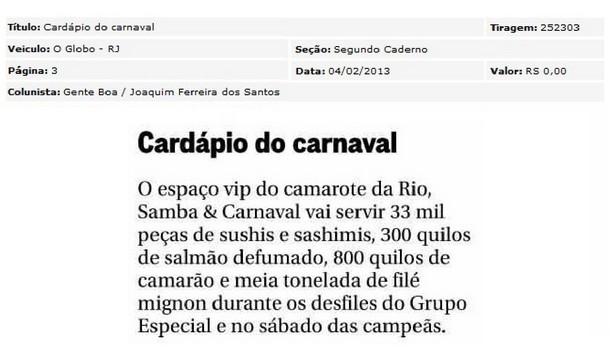 Cardápio na Rio, Samba & Carnaval