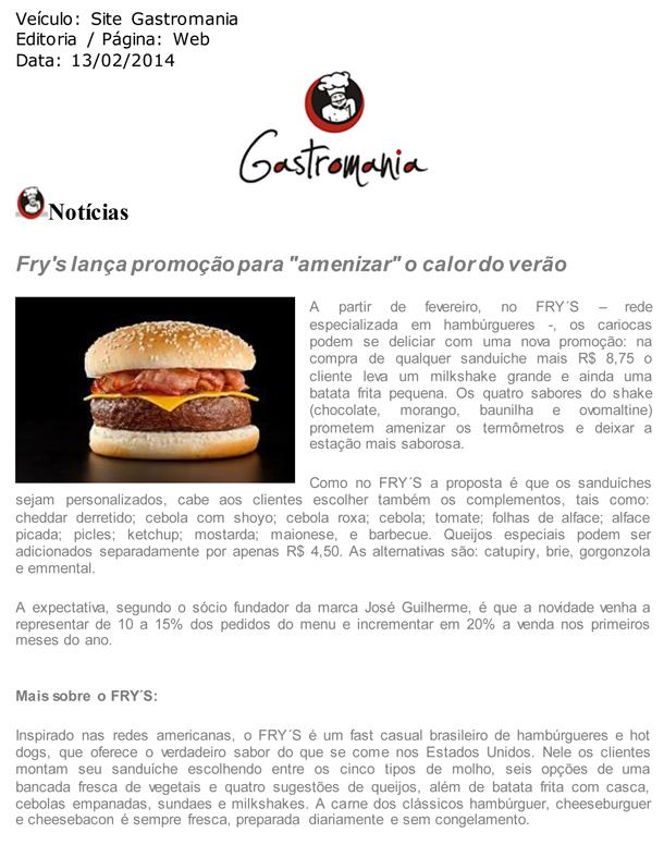 """Fry's lança promoção para """"amenizar"""" o calor do verão - Site Gastronomia"""