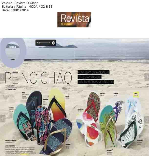 Chinelos da TACO brilham na Revista O GLOBO