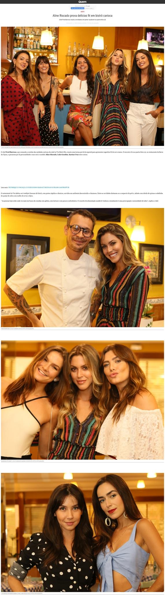 Aline Riscado prova delícias fit em bistrô carioca Chef Fred Barroso reuniu convidados em jantar saudável na quarta-feira